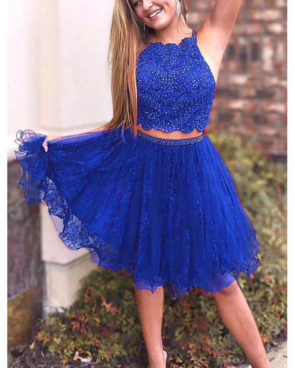 Crop Top Short Prom Dresses Junior Homecoming Gowns with Lace Beading SP5573