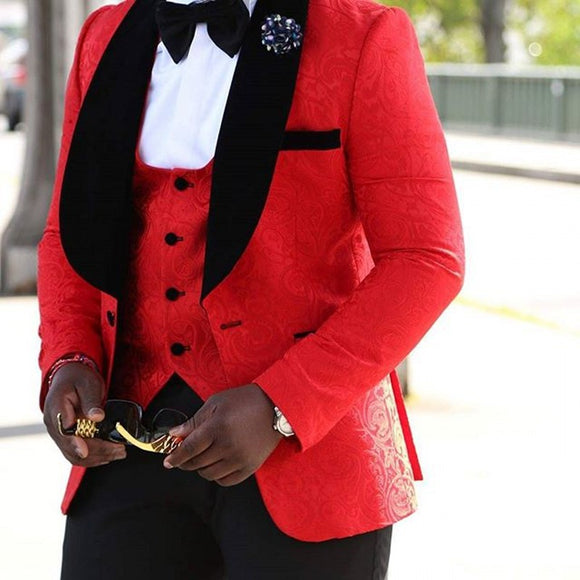 Men 2020  Suit Brand New Groomsmen Shawl Lapel Groom Tuxedos Red/White/Black Men Suits Wedding Best Man Blazer (Jacket+Pants+Bow Tie+Vest)