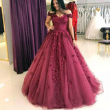 Chic A Line Burgundy Women Formal Prom Dress Lace Sleeveless Wedding Dress 2018