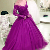 LP3339 Dreamy Off the Shoulder Burgundy Prom Dresses Long Sleeves A Line Lace Formal Gowns 2018 Vestido De Festa