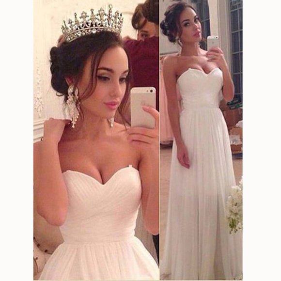 Elegant Pleated Chiffon Beach Wedding Dress Ivory Prom Dresses Long