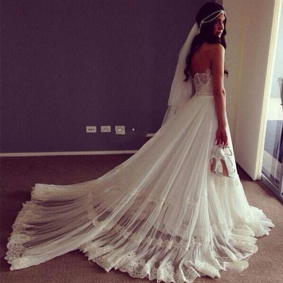 Siaoryne Bohemian Wedding Dresses Beach Gown for Bride Dresses Lace WD1004