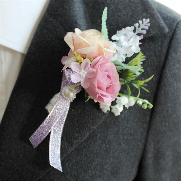 Artificial Silk Rose Wrist Wedding Flower Corsage & Men Boutonniere For Bride & Groom Prom Party Flower Decor