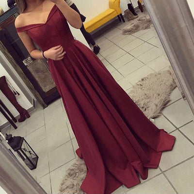 Off Shoulder Burgundy Prom Dress Satin A Line Graduation Dress Girls Long Homecoming Gown Outfits