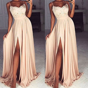 Spaghetti Straps Sexy Slit Long Prom Dress with Lace Top,Formal Gowns with Straps