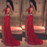 2020 red Bling Bling Spaghetti Straps Sequin Prom Dress Sexy Split Evening Gowns,sexy party gown sequins