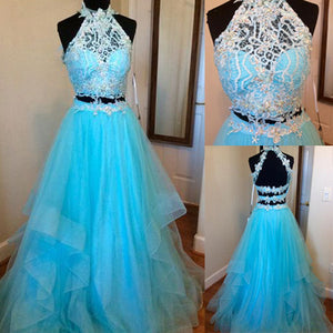 LP3654 Halter Blue Prom Dress two Pieces Long Formal Gown Pageant Dress 2018
