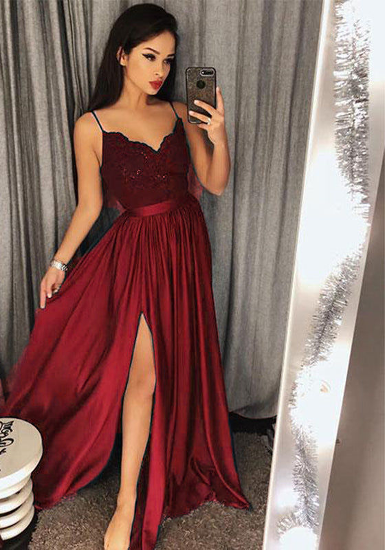 5eaceed9a90 Teal Sexy Slit Prom Dresses 2018 Spaghetti Straps Girls Long Party Gown  vestidos de graduacion LP7704 .