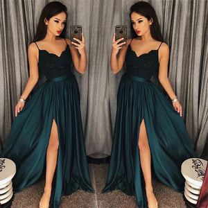 4a6cbe56334 Teal Sexy Slit Prom Dresses 2018 Spaghetti Straps Girls Long Party Gown  vestidos de graduacion LP7704