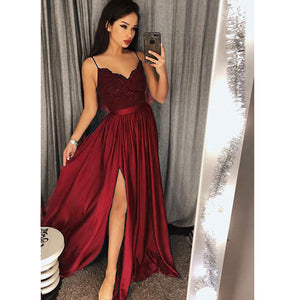 Long Burgundy Evening Dresses with Straps Lace Top sexy Slit Party Formal Prom Gown