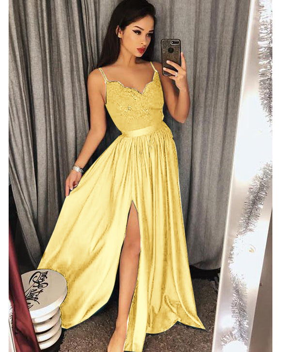 Yellow Long Party Dress with Lace Appliques Evening Prom Gown Vestido De Festa WL551