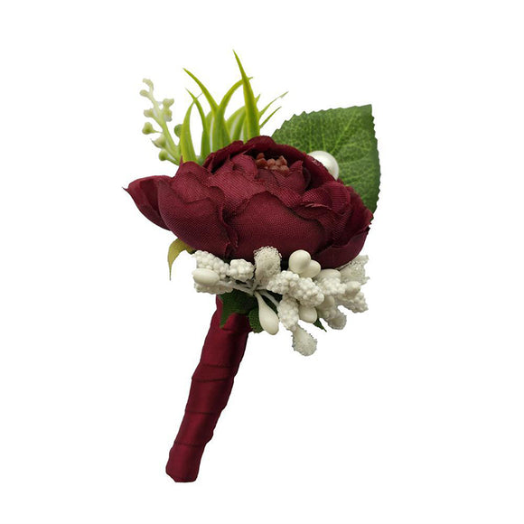 Artificial Flowers Boutonniere Groom Groomsman Best Man Wedding Accessories Prom Party Suit Decoration