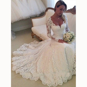 Vintage Long Sleeves Lace Bride Dress A Line Wedding Gown Robe De Mariee WD6602