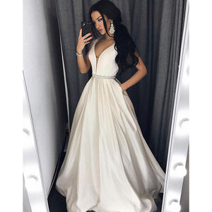 Sexy V Neck Ivory Dress Girls Graduation Prom Gown with Beading Belt Long LP701