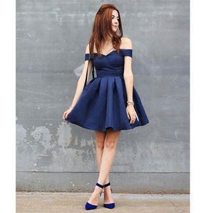 Amazing Girls Navy Short Prom Dress 8th Grade Jr. Prom Junior Graduation Homecoming Gown