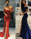 Red /Navy Long Fitted Evening Dress Women Off the Shoulder Prom Party Gown LP3330