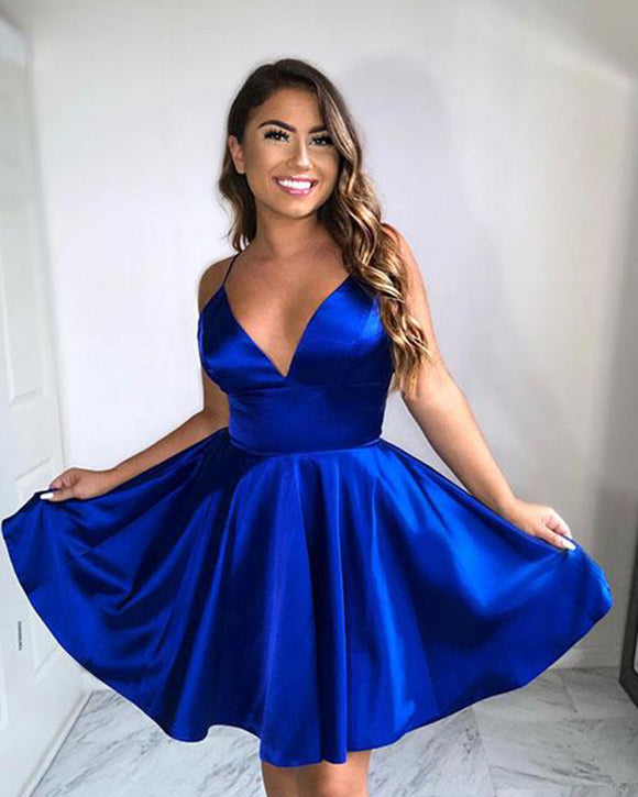 Royal Blue Short Homecoming Dresses 2019 With Straps Short Party Dress Semi formal SP141