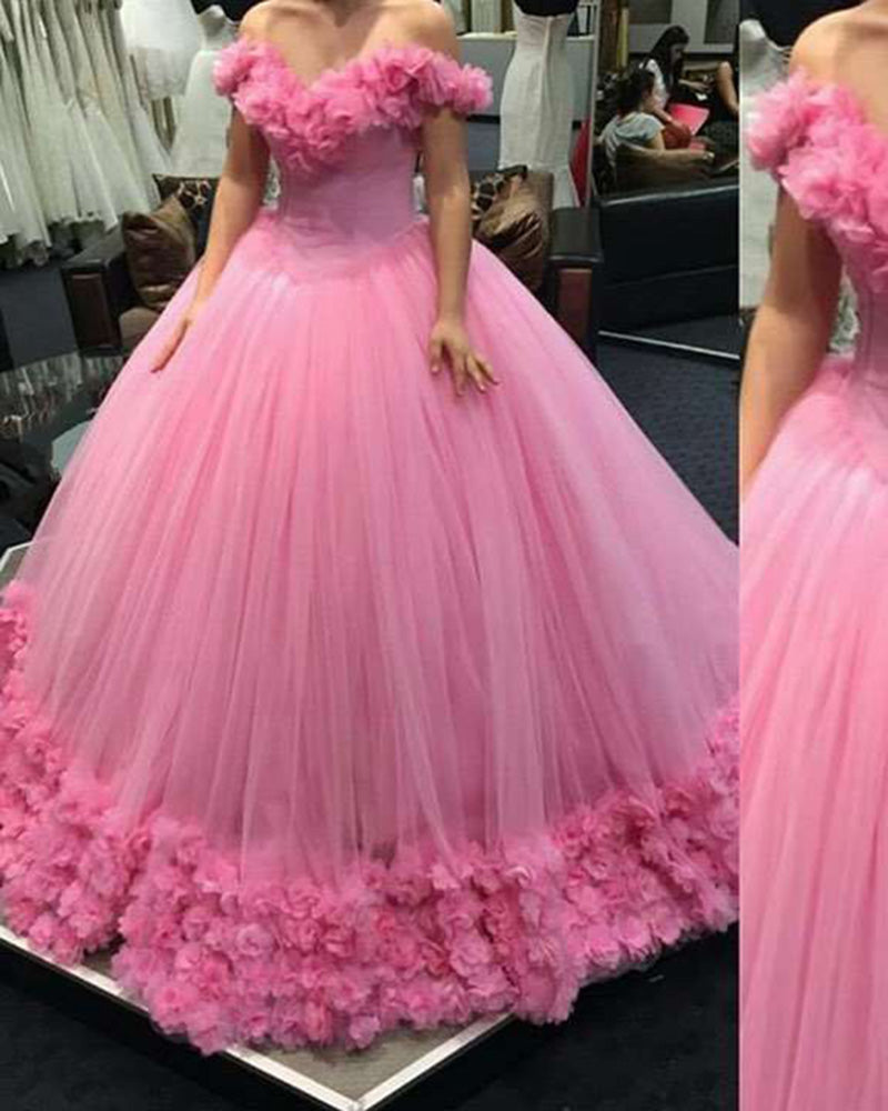 Wedding Gowns In Pink: Hot Pink Wedding Gown Women Princess Flowers Cinderella