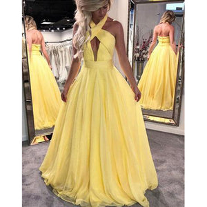 Yellow Halter Sexy A Line Prom Dress Long Graduation Dresses Chiffon Evening Gown LP0513