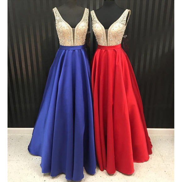 Sexy Double V Neck A Line Satin Prom Dress,Senior Formal Prom Gown for Graduation