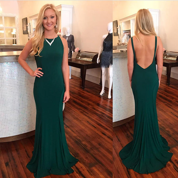 Dark Green Jersey Fitted Long Evening Dresses ,Women Formal Gowns 2018