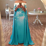 Trendy Dubai Style Long Cape Evening Formal Gowns Chiffon Long Prom Dresses 2018 with Flowers