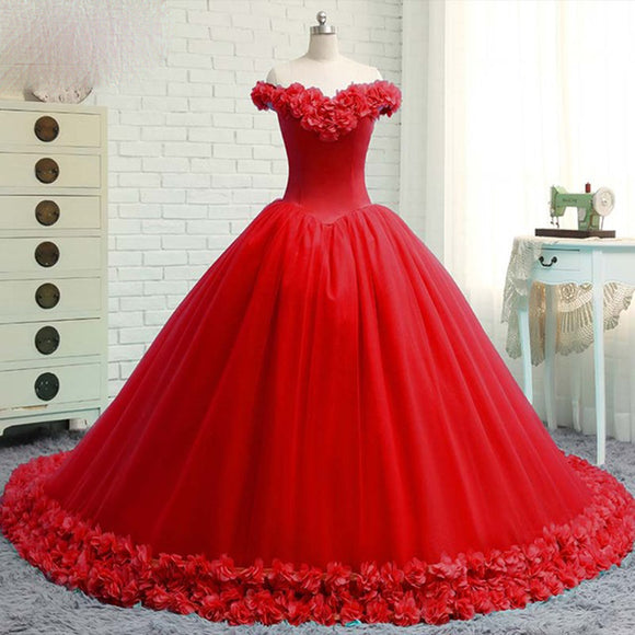 Red Ball Gown Quinceanera Dress Girls Sweet 16 Debutante Gown Flower Wedding Dress LP0508