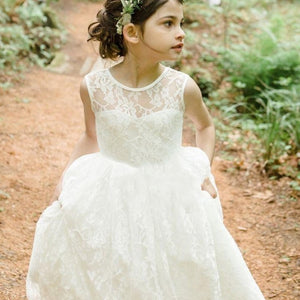 Vintage Sweet O Neck  Ivory Lace Flower Girl Dresses for Weddings Girls first communion dresses