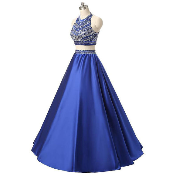 Elegant High Neck Beading Crystal Prom Dresses Long Satin A Line Two Pieces Evening Gowns