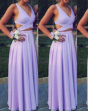 Gorgeous Lavender Floor Length Chiffon Long Party Prom Dresses 2019