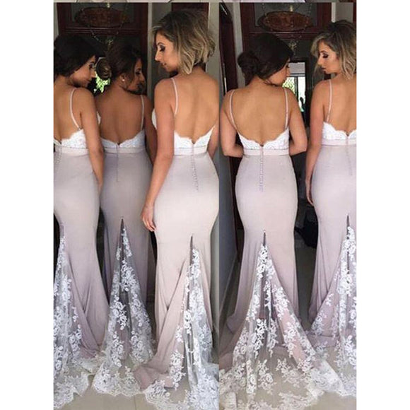 Mermaid Wedding Party Dresses Long Bridesmaid dresses with Spaghetti Dress