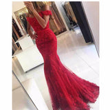 Gorgeous Off the Shoulder Mermaid Red /burgundy Lace Prom Dresses 2018  Long Evening Party Gown
