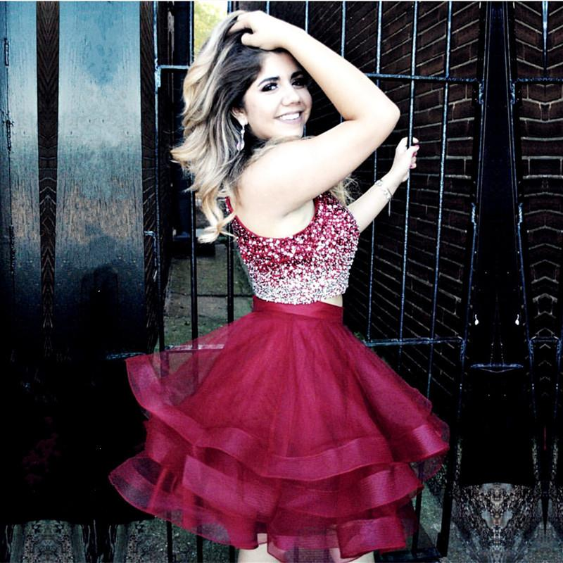 e9026b7889e ... Ombre Halter 2 Two Pieces Prom Dresses Short Homecoming Dresses 2018  with Crystal LP0911 ...