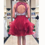 Burgundy Beading Halter Corp Top /Two /2 Pieces Short Jr. prom vestidos de graduación