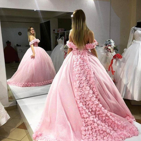 off the shoulder Pink Wedding Gown Handmade Flowers Quinceanera Debutante Gown