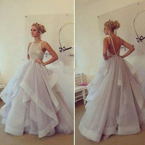 Stylish Ball Gown Wedding dresses Tiered Organza Backless Prom Gown 2018 WD6614