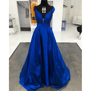 Siaoryne LP031 Royal Blue /Green/Burgundy Sexy Elegant Long Evening Party Gowns Off the Shoulder Double V Neck Prom Dresses 2018