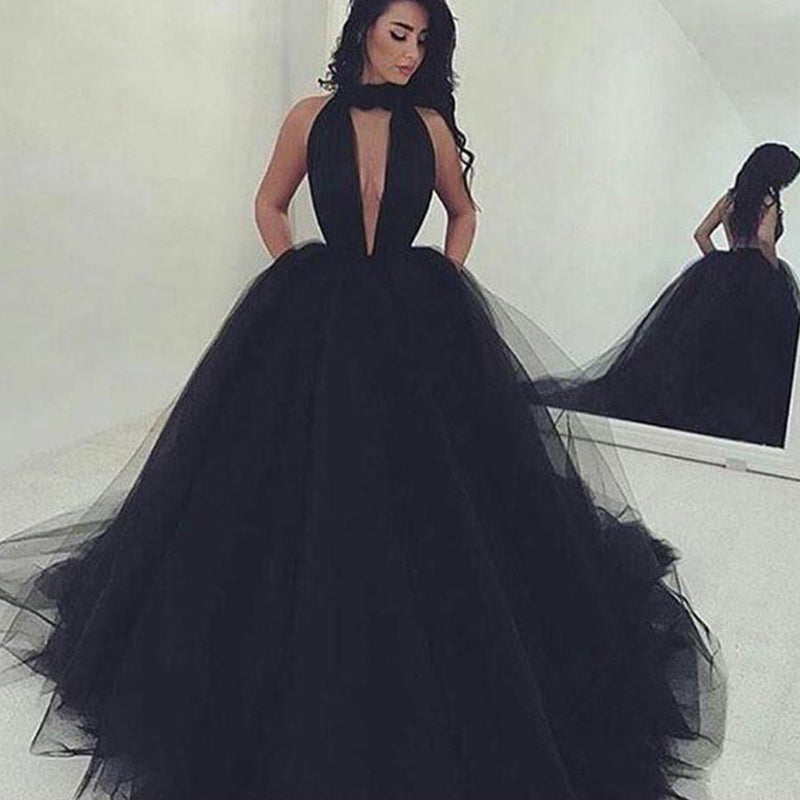 7cb1efda75b ... LP632 Black Prom Dress High Neck Poofy Ball Gown Formal Dress ,Backless  Evening Dresses Long ...