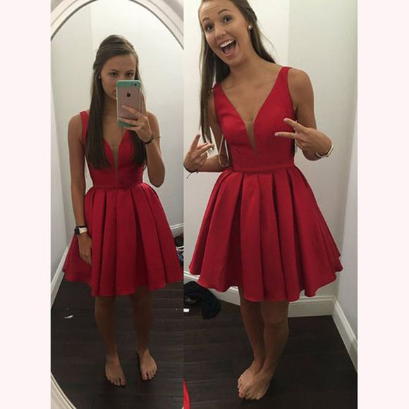 Classy Red sexy sexy V Neck Short Prom Dress homecoming dresses for party 2018 SP6602