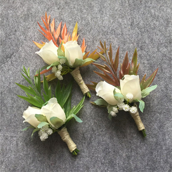 Groom Boutonniere Groomsman Best Man Wedding Flowers Bouquet Accessories Prom Party Bride Suit Decoration