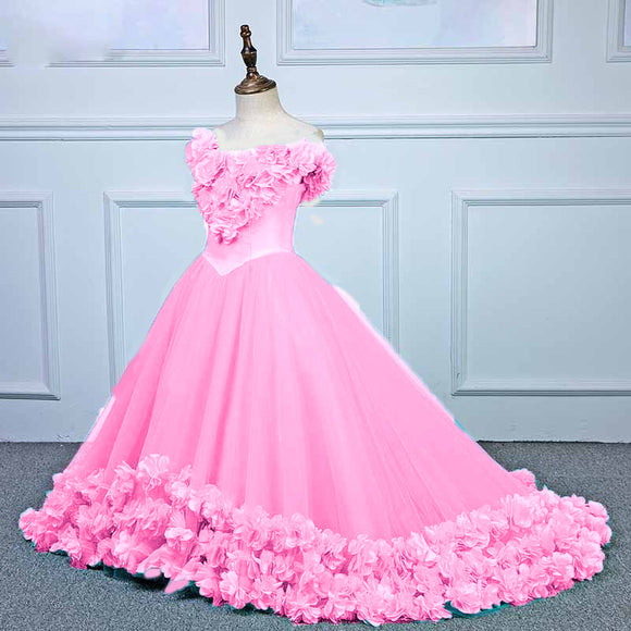 Sweet Pink Rose flower girl dress  Ball Gown girls formal dress Pageant Gown Children Party Gown Communion Dress