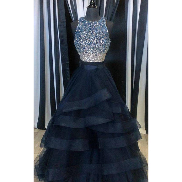 Siaoryne LP0828 two Pieces  Boat Neck Long Prom Dress with Beading Girls Party layered Evening Gown