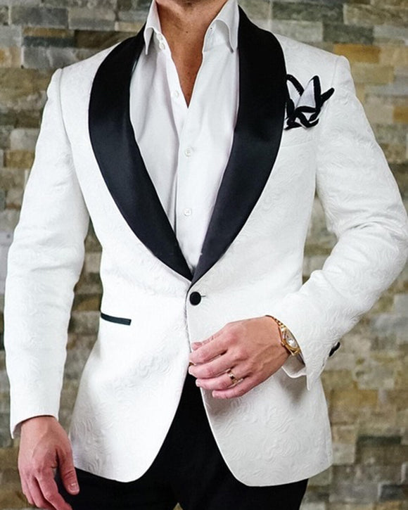 Ivory/Navy/burgundy White Wedding Suit Men Prom Suit Tuxedo Shawl Lapel