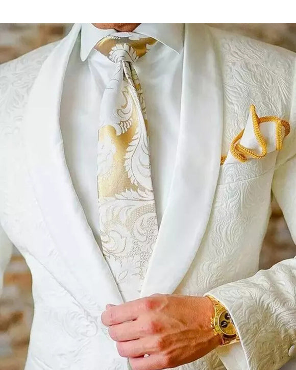 Shawl Lapel Ivory Jacquard Pattern Wedding Suit for Men 2 Pieces