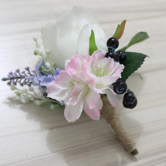 Groom bride corsage rose wedding flowers boutonniere corsages prom