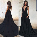 black deep v neck long formal gown women evening dresses