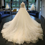 Siaoryne WD0912 Long Sleeves a Line Lace Luxury Vintage Court Train Wedding Dresses