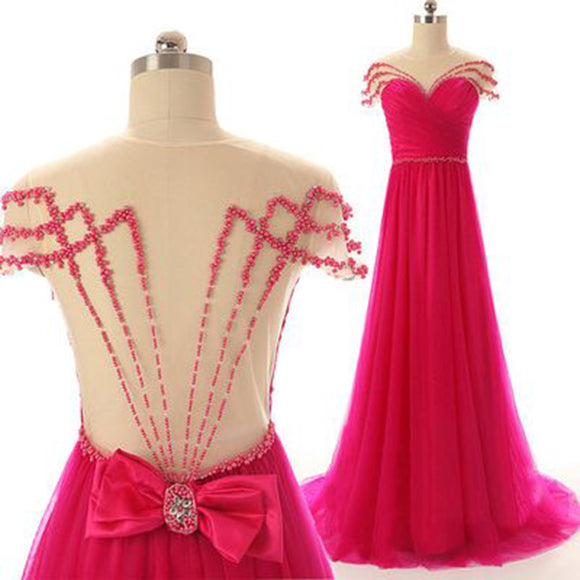 Siaoryne LP1009 Sexy See Though Prom Dresses Long Beaded Evening Dresses Fuchsia