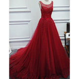Red Scoop Neck Ball Gown Beaded Prom Dress Formal Gowns New