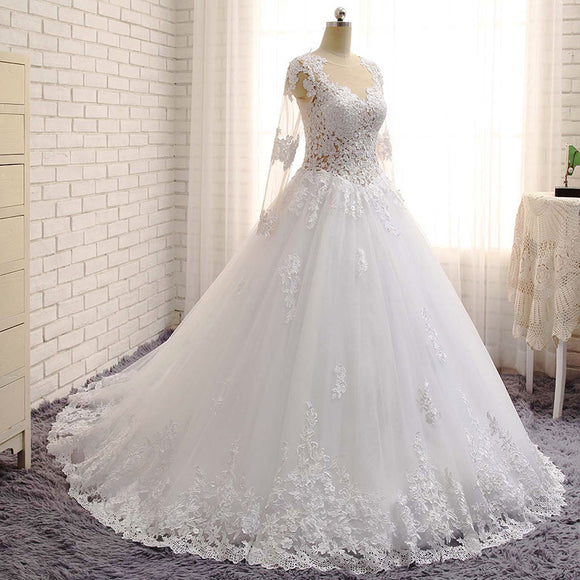 WD3371 2018 robe de mariage Princess Bridal Ball Gown Beaded See Through Long Sleeves Lace Wedding Dress